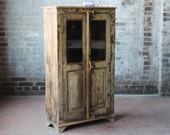 Reclaimed Vintage Cabinet Buttercream Distressed Indian Farm Chic Warm Industrial Kitchen Bathroom Cabinet Curio