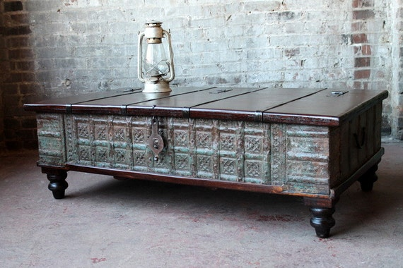 Reclaimed indian trunk coffee table green by hammerandhandimports Indian trunk coffee table