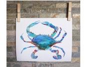 Crabby.  Original watercolor painting - 8x10 print