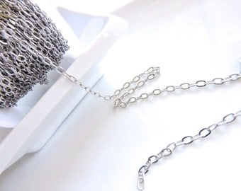 Bulk Metal Chain - 6feet - Long Oval Link Stainless Steel 2.8x4.3mm Flat Cable Chain