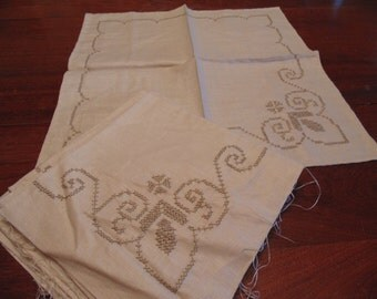 Pure Linen Napkins, Unfinished Embroidery Work, Light Taupe Designs