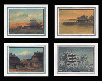 4 Blank Note Cards of Japanese Archecture by Hasui gcas009
