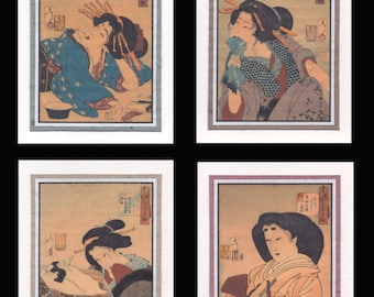 4 Blank Note Cards of Japanese Women by Yoshitoshi gccs019