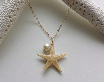 Real Starfish Necklace, Sea Star Necklace, Beach Charms, Mermaid Jewelry, Bridal Jewelry, Beach Necklace, Beach Wedding Jewelry, Gold Filled