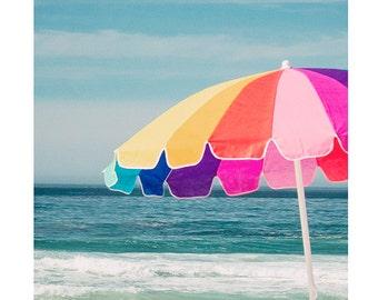 Beach Photography, Coastal, Cottage Decor, Fine Art Print, Summer Art, Children's Room, Nursery Art, Colorful Beach Umbrella