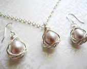 Necklace & Earring Set, Bird Nest Jewelry, Wire Wrapped Cultured Freshwater Mavuey Pink Colored Pearls