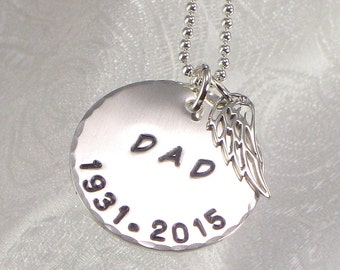 Personalized Dad Angel Wing Necklace with Date - Hand Stamped with DAD, Father, MOM, Mother - Choice of Name - Memory Necklace - Remembrance