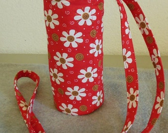 Insulated Water Bottle Carrier - Red Floral with Swirls