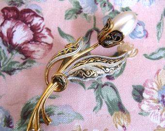 Vintage 1970s Brooch Damascene Flower Faux Pearl Black Enamel Gold Tone Pin