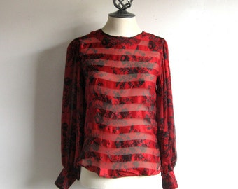 Vintage 1980s Silk Blouse Flora Kung Black Red Floral Silk Georgette Blouse 4 XSmall
