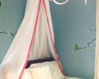 Pink French Tassel Bed Canopy
