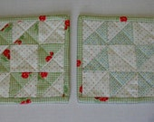 Quilted Mug Rugs, Quiltied Coasters, Drinkware Bareware, Mug Mat, Cottage Chic, Retro, Set of Two