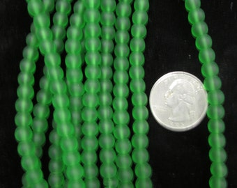 Simulated Sea Glass 8mm Rounds Grass Green