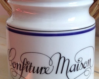 Vintage French, Parisian, Porcelain Confiture Crock by Jacques Lobjoy. Classic White and Blue, Canister, French Country, Kitchen Utensils,
