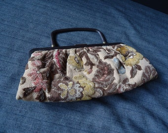 Chenille Floral Tapestry Vintage 1950's 1960's Clutch Purse