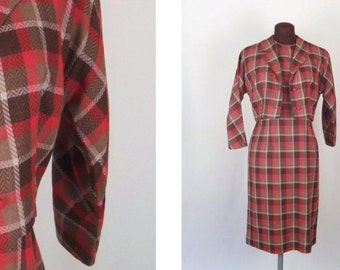 Vintage 50's 60's Dress Shift with Jacket Two Piece Red Brown Plaid Size S / Small