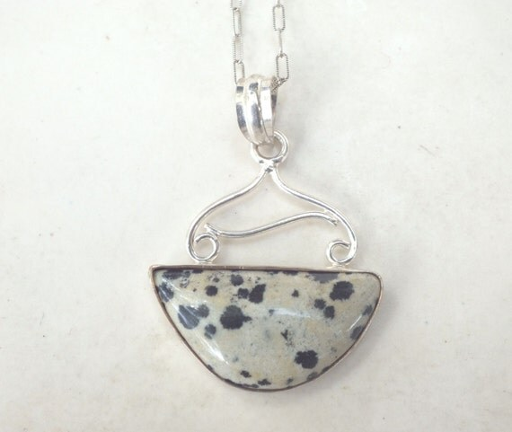Dalmation Jasper and Sterling Silver Pendant Necklace