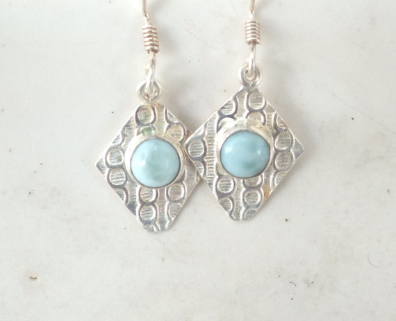 Blue Lace Agate and Sterling Silver Patterned Drop Earrings