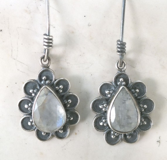 Moonstone and Sterling Silver Flower Dangle Earrings