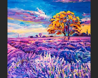 Original Landscape Oil Painting- Colorful Lavender field - Colorful Contemporary Wall Art - Landscape Summer-By Ivailo Nikolov