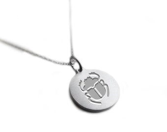 Egyptian jewelry necklace- Egyptian hieroglyphics- The scarab beetle chain necklace, sterling silver 925 engraved pendant- 50cm