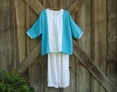 linen top blouse in turquoise white Ready to Ship