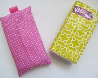 Tissue Case/White Pin Dot On Pink