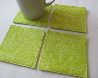 Set Of 4 Fabric Coasters/Green Damask