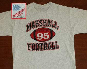 Marshall Football 1995 vintage t-shirt XL gray 90s soft thin Duke brand
