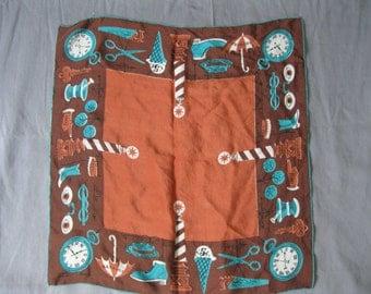 Vintage Tammis Keefe  Hanky - 1940s Silk Main Street  Handkerchief