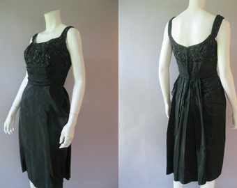 Sequin Wiggle Dress - 1950s LBD - Black Taffeta Cocktail Dress - 50s S - Dramantic Back Interest -  Wedding Guest Dress
