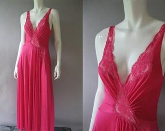 Vintage 70s Hot Pink Olga Nightgown - Large Sweep - Size M