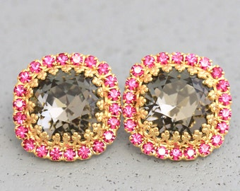 Pink Gray Stud Earrings Fuchsia Black Diamond Crown Stud Earrings Gift For Her Gray Gold Earrings Trending Swarovski  Earrings By Ilonti