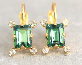 Erinite Drop Earrings,Dainty Crystal Earrings,Swarovski Crystal Green Earrings,Bridal Delicate Crystal Earrings,Emerald Cut Crystal Earrings