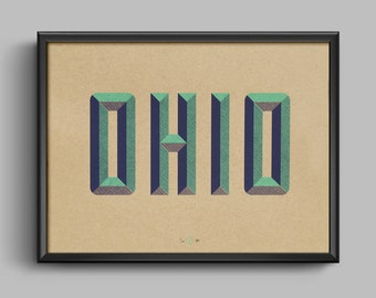 Ohio State Wall Art ohio screen print 13x10 poster art cleveland