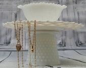 Handmade Milk Glass Lace--Hobnail --Lattice --Jewelry Stand --Tiered Tray --Organizer OOAK