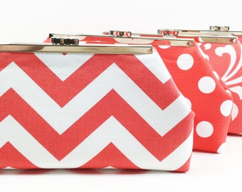 Bridesmaid Clutches Wedding Clutch Bridesmaids Gifts Choose Your Fabric Coral Peach Salmon Set of 8
