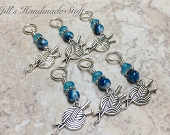 Yarn Stitch Markers- 6 Snag Free Beaded Stitch Holders- Knitting Markers- Gifts for Knitters- Tools- Mother's Day Gift
