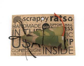 SUPER SALE cammo Scrappy Rat Cat Toy with Organic Catnip and Whiskers