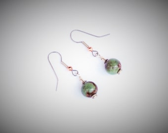 Chrysophase and Copper Earrings