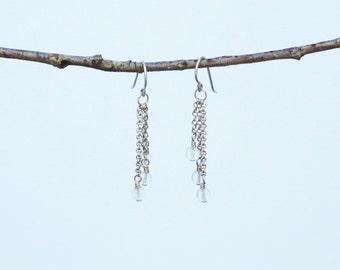 Triple Chain Quartz Earrings