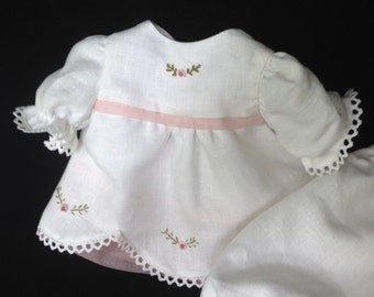 Heirloom Hand Embroidered Linen and Silk Dress and Bloomers