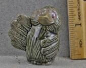 Decorative Raku Bird Sitting Baby Crow Raven Comical Sculpture
