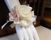 Pale Pink Wrist Corsage made of Sola Flowers, Ivory Satin, Babies Breath. Made to Order.