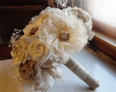 Rustic Shabby Chic Bouquet with Burlap, Sola Flowers, Rhinestones & Pearls, Rustic, Country, Shabby Chic Style Weddings. Made to Order.