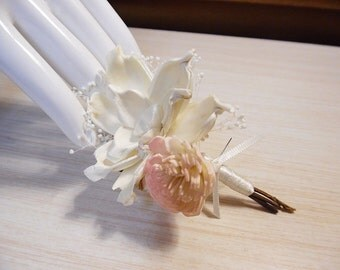 Pale Pink & Ivory Boutonniere, made of Sola Flowers, Ivory Satin, Babies Breath. Made to Order.