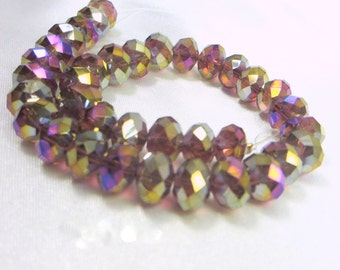 Dark Violet AB Chinese Crystal Glass Rondelles 6mm x 8mm Jewelry beads (35)