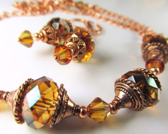 Swarovski Crystal Copper Necklace and Earring Matching Set in Copper - Rust tones