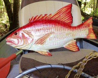 "Red Snapper 20"" chainsaw wood fish carving rustic beach wall mount original art taxidermy seaside decor sculpture indoor outdoor display"