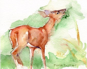 Deer in the woods watercolor painting